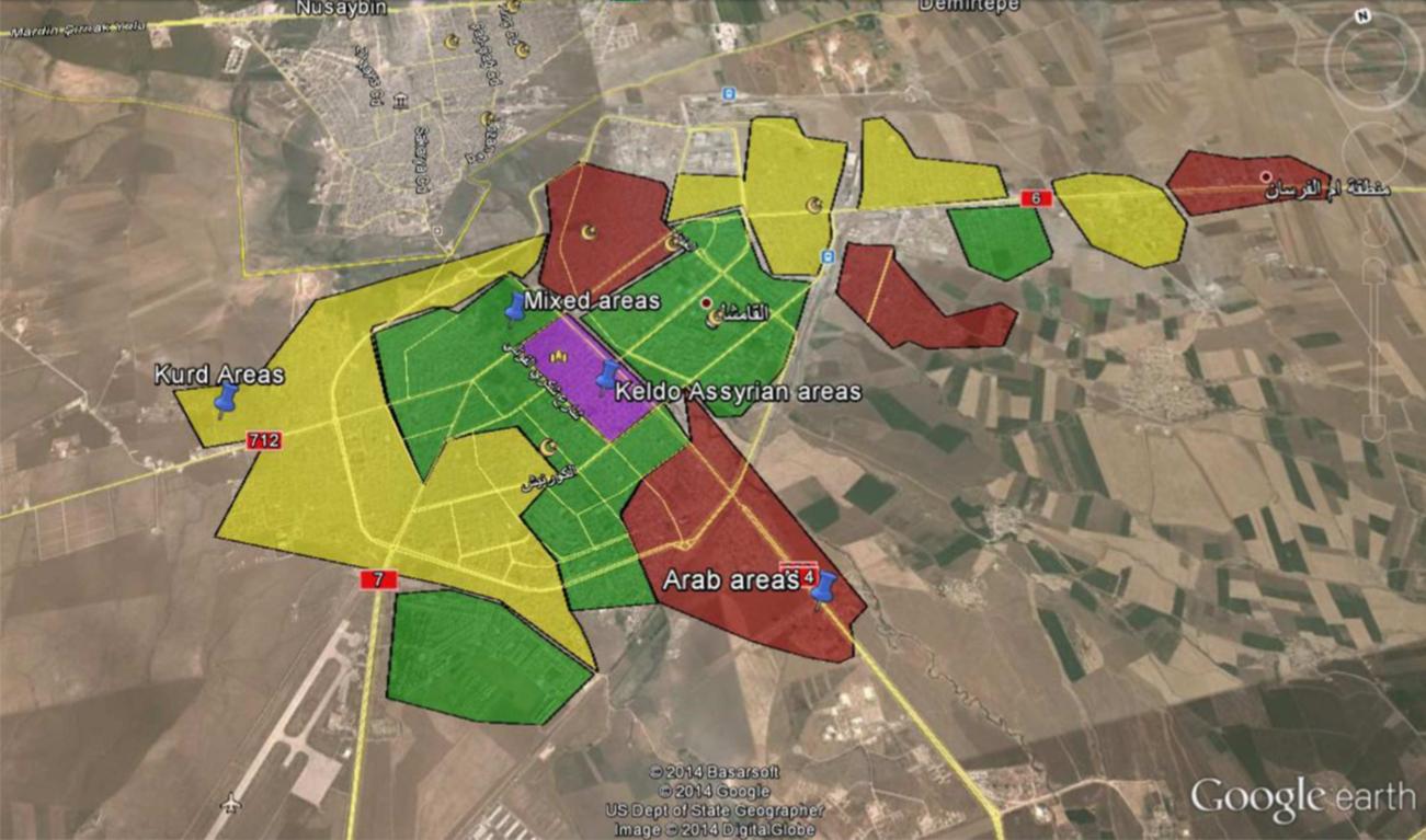 Map 1  Qamishli districts - google earth
